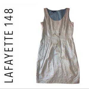 Lafayette 148 New York Metallic Linen Dress Size 8